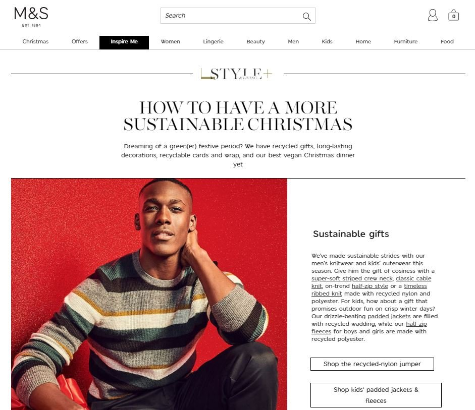 Shoppable content text with link