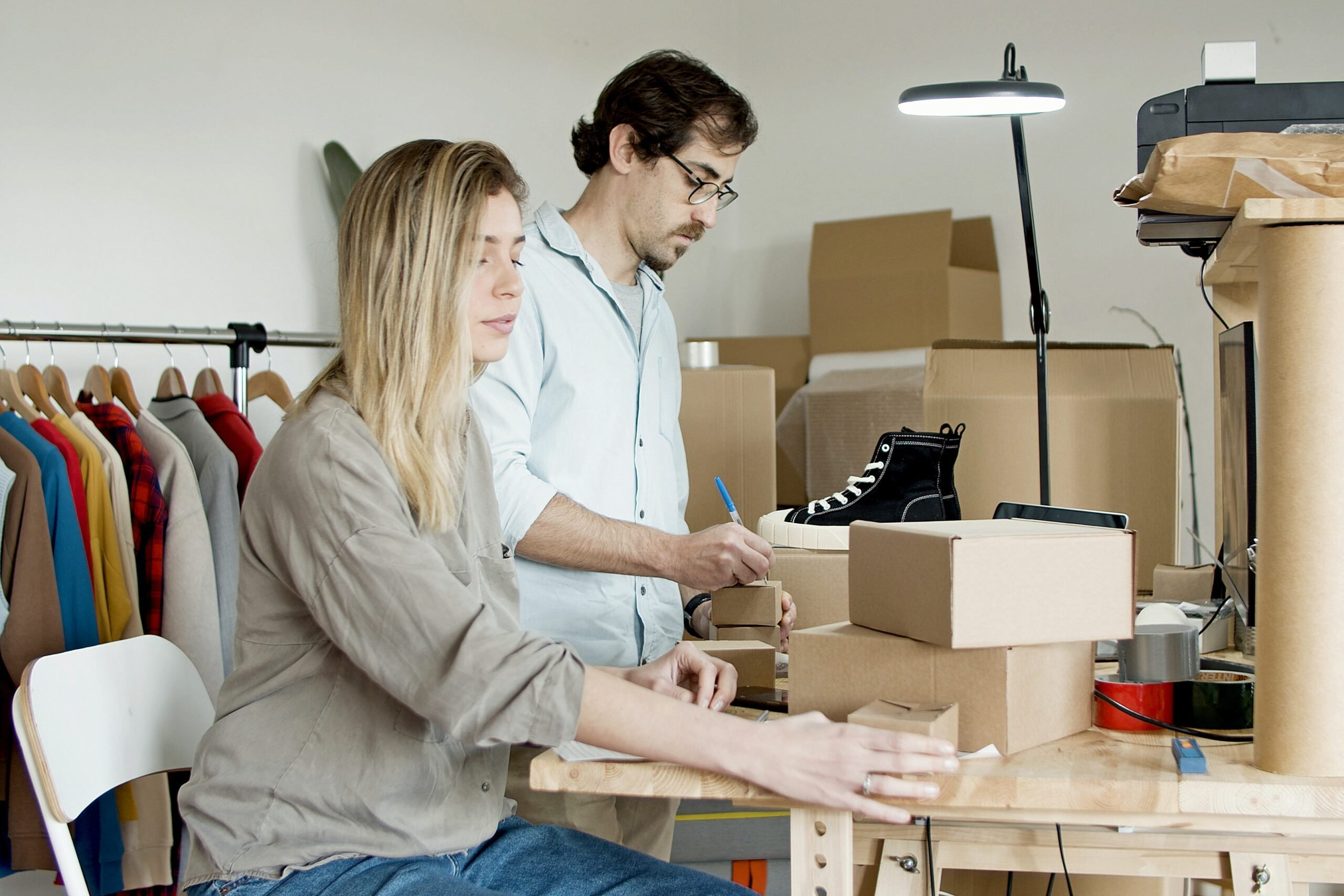 business partners take online store orders