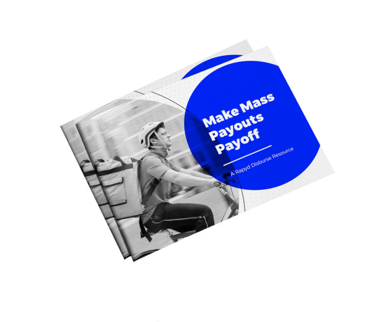 Make Mass Payouts Payoff ebook cover with a bike delivery person in a city.